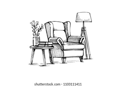 Interior Design doodle. Hand drawn vector sketch