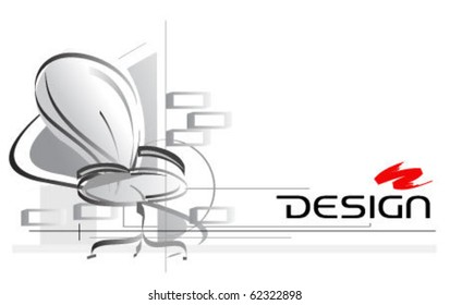 interior design drawing with office chair on foreground