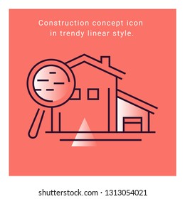 Interior design flat icon on coral background illustration. Concept 	construction indoor symbol. Building apartment linear vector banner. Architecture sign. Furniture collection.
