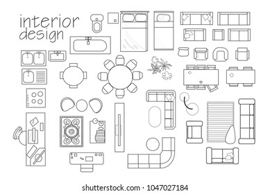 interior design floor plan symbols. top view furniture. cad symbol. vector furniture collection.  project. architectural technical drawing.