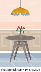 Interior design furniture and pendant light lamp. Wooden coffee table with tulips in glass vase