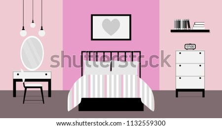 Interior Design Girl Bedroom Furniture Vector Stock Vector Royalty