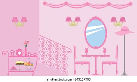 Interior design of girly residence, princess style