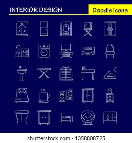 Interior Design Hand Drawn Icons Set For Infographics, Mobile UX/UI Kit And Print Design. Include: Furniture, Household, Washbasin, Door, Lock, Room, Furniture, Cooking, Icon Set - Vector
