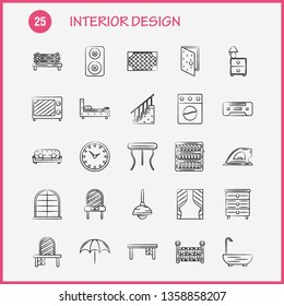Interior Design  Hand Drawn Icons Set For Infographics, Mobile UX/UI Kit And Print Design. Include: Switch, Plug, Electronics, Electric, Table, Furniture, Home, Tables, Eps 10 - Vector
