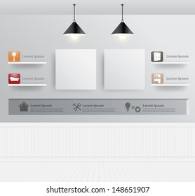 Interior design with home furniture icons, Vector illustration modern template design