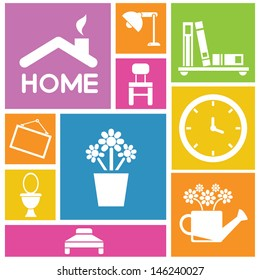 interior design, home icons, furniture icons, background