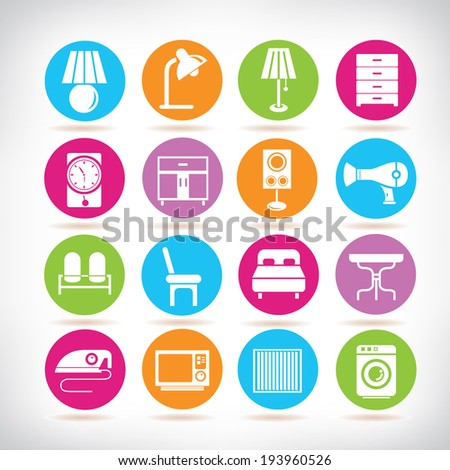 Interior Design Icons Furniture Icons Set Stock Vector Royalty Free