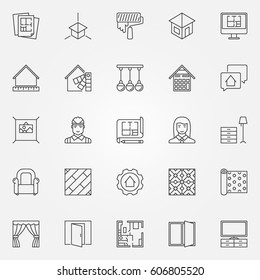 Interior design icons set. Vector architecture symbols for design company signs or design elements in thin line style