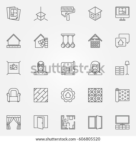 Interior Design Icons Set Vector Architecture Stock Vector Royalty