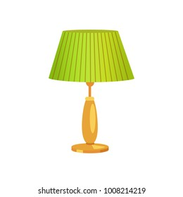 Interior design, lampshade of green color, lamp of vintage type, illumination at houses, object vector illustration, isolated on white background