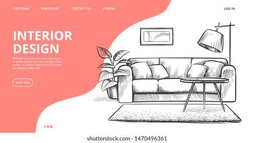 Interior design landing page. Vector sketch of living room. Hand drawn furniture. Illustration of furniture interior room, sketch living apartment