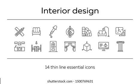 Interior design line icon set. Pencil, ruler, furniture, room. Home concept. Can be used for topics like house project, renovation, home design
