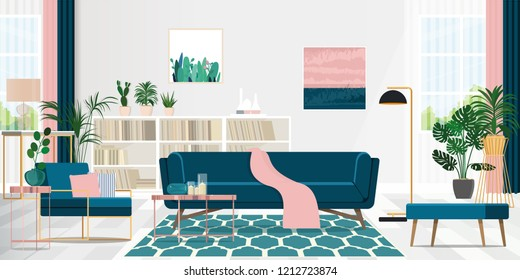 Interior design of the living room in pink and blue with cozy furniture. Vector flat illustration.
