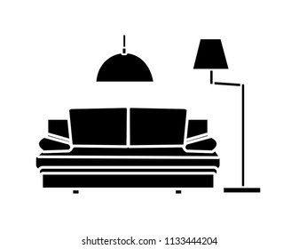 Interior design, minimalism living room. Black icons