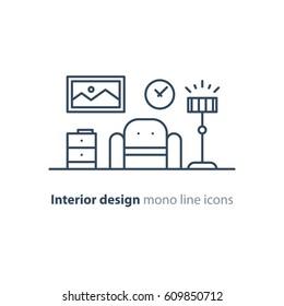 Interior design, minimalism living room, set of furniture, tidy apartment, vector mono line icon collection