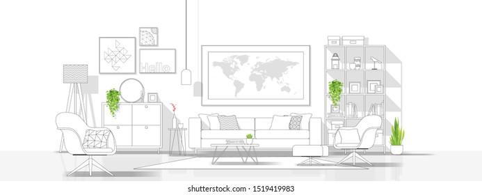 Interior design with modern living room in black line sketch on white background , vector , illustration