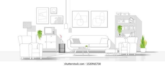 Interior design with modern living room in black line sketch on white background, vector illustration