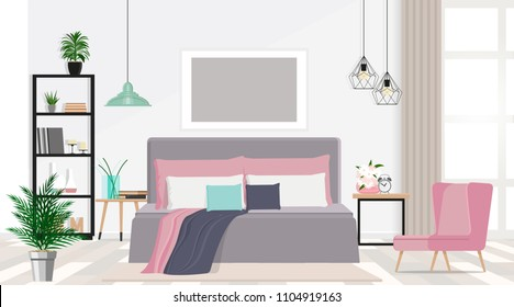 Interior design of a nice bedroom in pastel colors. Vector flat illustration.