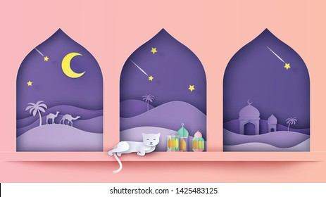 Interior design for Ramadan Kareem with cat sleeping on window and the view of mosque in desert outside the window at night. paper cut and craft style. vector, illustration.