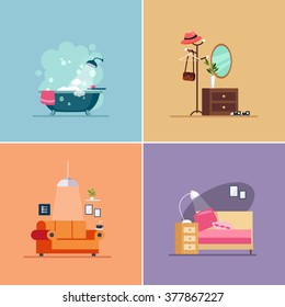 Interior Design Room Types. Vector Illustration Collection