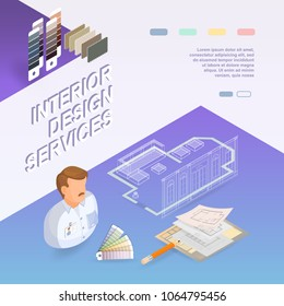 Interior design services. Isometric project and repairs concept. Designer, samples, palettes, drawings, interior plan. Worker, equipment and items isometric icon. Vector flat 3d illustration.