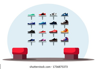 Interior design of shoe store background. Department of sports shoes, men or women new collection of sneakers, chairs for trying on for buyers. Fashion footwear boutique. Vector illustration