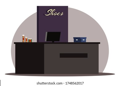 Interior design of shoe store background. Cash desk for purchases at exit shop market. Large table, computer monitor, box, shoe care products. Fashion footwear boutique.Vector illustration