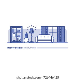Interior design solution, minimalism living room, set of home furniture, tidy apartment, household vector line icon