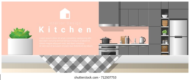 Interior design with table top and Modern kitchen background , vector , illustration