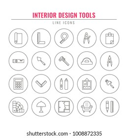 Interior Design Tools. Thin Line Icons Set. Elements For Architectural  Design Firm, Home