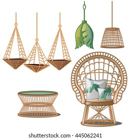 Interior design in tropical style. Wicker furniture isolated on white background. Vector illustration.