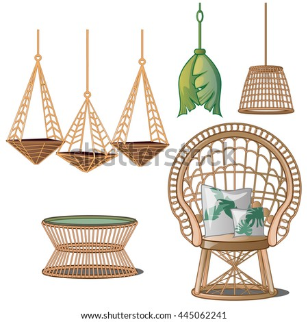 Superbe Interior Design In Tropical Style. Wicker Furniture Isolated On White  Background. Vector Illustration.