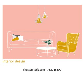 interior design vector illustration. furniture art drawing. trendy modern contemporary style. hand drawn. sketch. pink yellow armchair sofa.