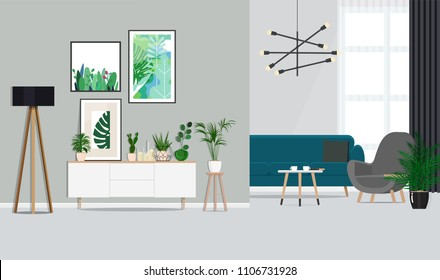 Interior design of a white living room with botanical posters and a sofa, indoor plants. Vector Flat illustration.
