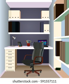 Interior design of a Work Space. Workplace of office worker. On the picture the desktop, a chairs, the computer, folders, a lamp and other objects.