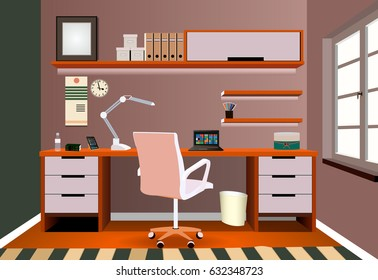 Interior design of a work space. Workplace of office worker. On the picture the desktop, a chair, folders, lamp, books, pencils and other object. Workplace illustration.