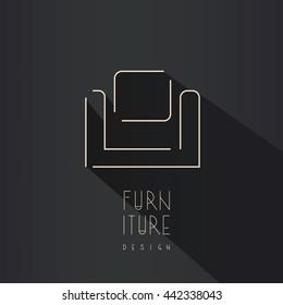 Interior designer brand identity. Armchair line logo. Furniture icon with shadow.