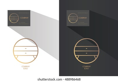 Interior designer brand identity. Night table with drawers, round line logo. Business card template included.