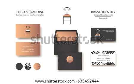 Interior Designer Brand Identity Vintage Chair Stock Vector Royalty Custom Interior Design Branding