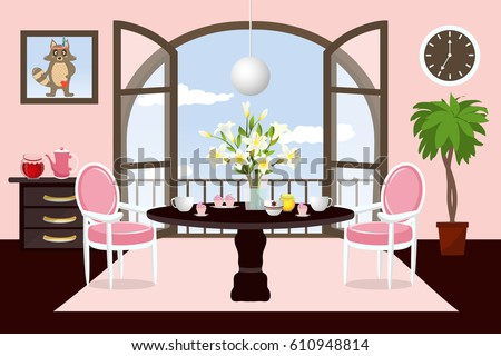 Interior Dining Room Cartoon Cozy Room Stock Vector Royalty Free