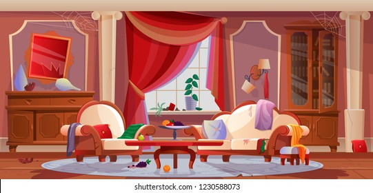 Interior of dirty, living room, with damaged furniture, interior items. Furniture with spider web, scattered things, broken objects, torn curtains. Disorder, chaos. Illustration in cartoon style.