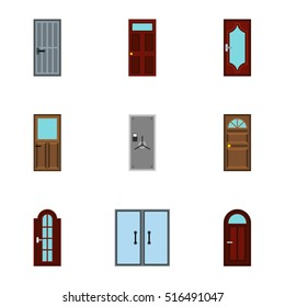 Interior doors icons set. Flat illustration of 9 interior doors vector icons for web