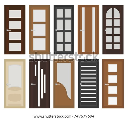 Interior Doors Set, Flat Style. Door With Different Types Of Glass.  Isolated On