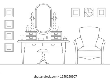 Interior dressing room in the outline, style. Sketch of the female room with a dressing table and cosmetics. Vector illustration drawn by thin lines.