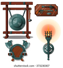 The interior of the dwelling with medieval items. Vector.
