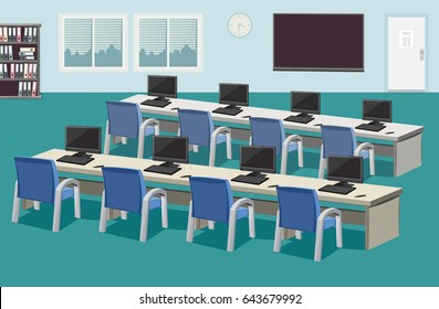 Interior of education Center. Company staff training. School empty room with computers and blackboard. Vector cartoon simple illustration.