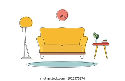 Interior elements in color line art style. Carpet, houseplant, books, chest of drawers, floor lamp, sofa. Suitable for decorating appliques, banners or presentations. Vector.