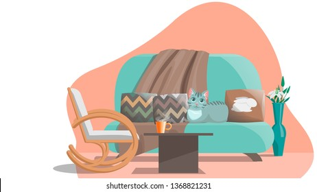 Interior elements, on a cozy, lovely sofa with pillows and a blanket lies a cat, rocking chair, a vase of flowers, a table and a cup of hot tea, an atmosphere of comfort and warmth.Flat cartoon style