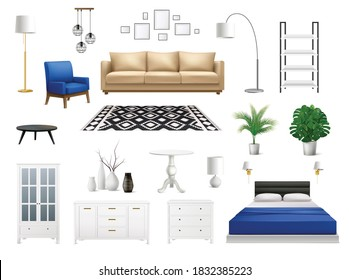 Interior elements set with realistic icons of modern designer furniture with isolated lockers chairs and flowerpots vector illustration